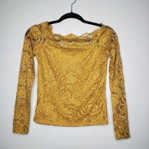 Ambiance Lace Blouse Gold Size M